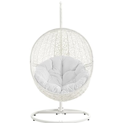 Hide Swing Chair with Stand Finish: White