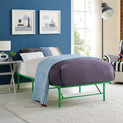 Horizon Steel Bed Frame Size: Twin, Color: Green