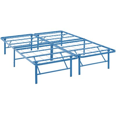 Horizon Steel Bed Frame Size: Queen, Color: Light Blue