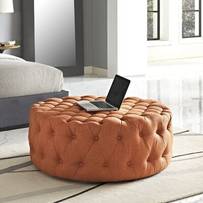 Amour Cocktail Ottoman Upholstery: Polyester - Orange