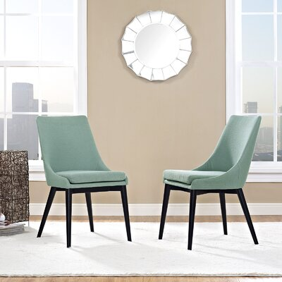 Carlton Wood Leg Upholstered Dining Chair Color: Laguna