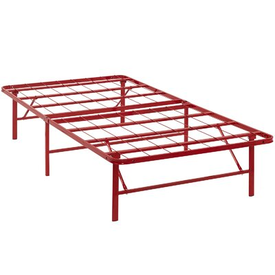 Horizon Steel Bed Frame Size: Twin, Color: Red
