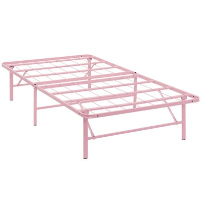 Horizon Steel Bed Frame Size: Twin, Color: Pink