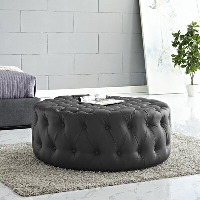 Amour Ottoman Upholstery: Vinyl - Black