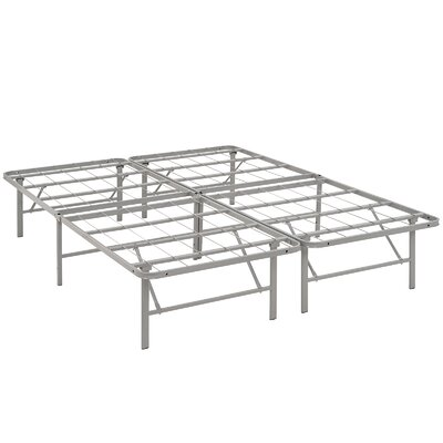 Horizon Steel Bed Frame Size: Queen, Color: Gray
