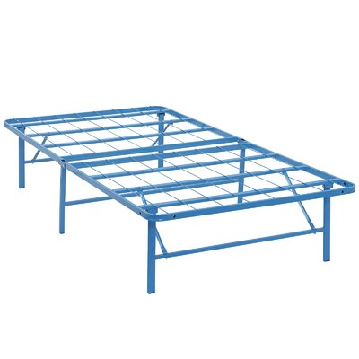 Horizon Steel Bed Frame Size: Twin, Color: Light Blue