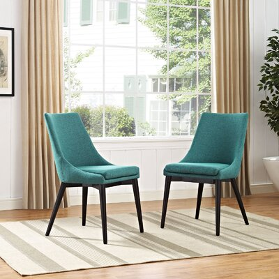 Carlton Wood Leg Upholstered Dining Chair Color: Teal