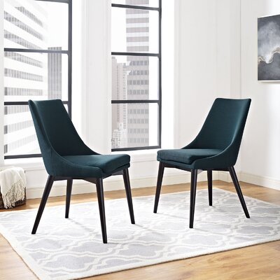 Carlton Wood Leg Upholstered Dining Chair Color: Azure