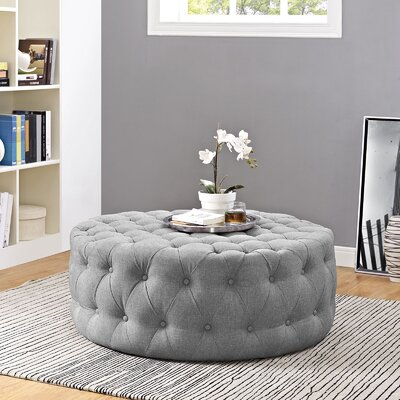 Amour Cocktail Ottoman Upholstery: Polyester - Light Gray