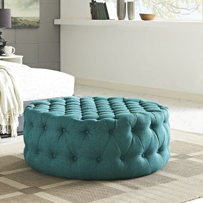 Amour Cocktail Ottoman Upholstery: Polyester - Teal