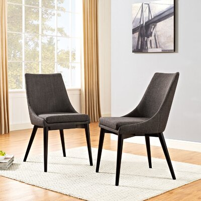 Carlton Wood Leg Upholstered Dining Chair Color: Brown