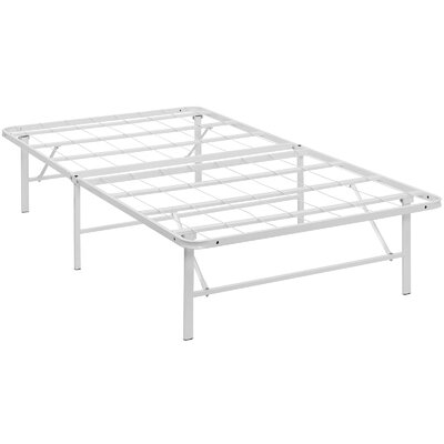 Horizon Steel Bed Frame Size: Twin, Color: White