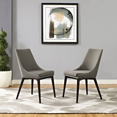 Carlton Wood Leg Upholstered Dining Chair Color: Granite