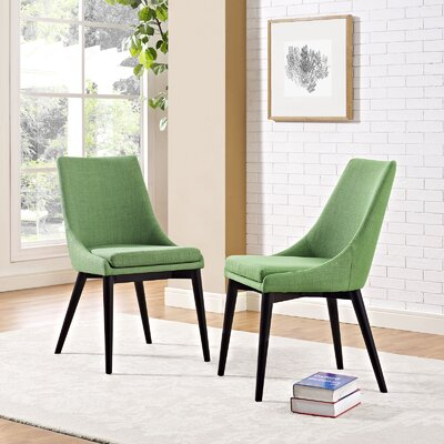 Carlton Wood Leg Upholstered Dining Chair Color: Kelly Green