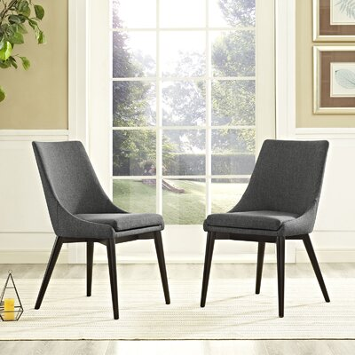 Carlton Wood Leg Upholstered Dining Chair Color: Gray