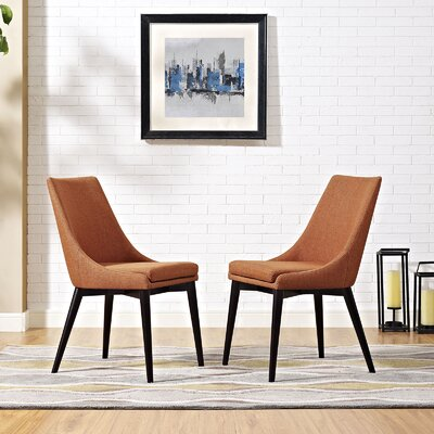 Carlton Wood Leg Upholstered Dining Chair Color: Orange