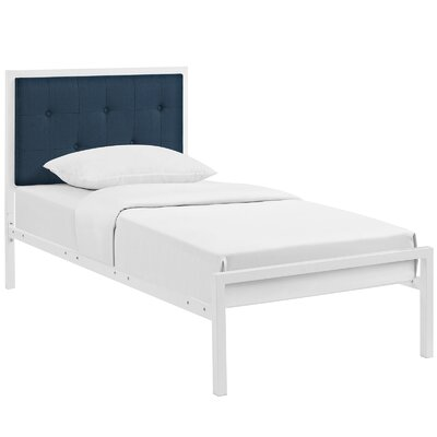 Lottie Upholstered Fabric Platform Bed Size: Twin, Color: White, Upholstery: Azure