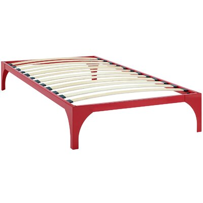 Ollie Bed Frame Size: Twin, Color: Red