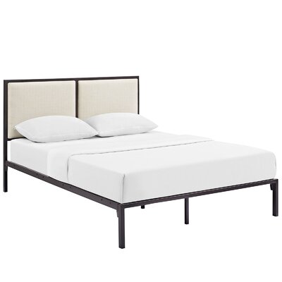Della Upholstered Fabric Platform Bed Size: Full, Color: Brown, Upholstery: Beige