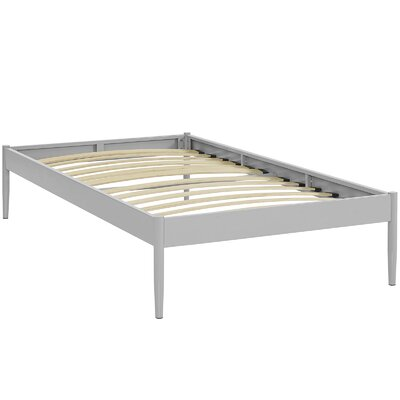 Elsie Bed Frame Size: Twin, Color: Gray