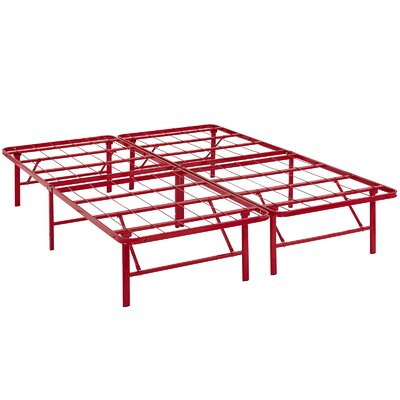 Horizon Steel Bed Frame Color: Red, Size: Queen