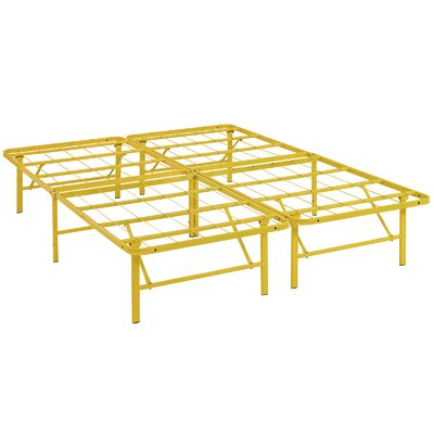 Horizon Steel Bed Frame Color: Yellow, Size: Full