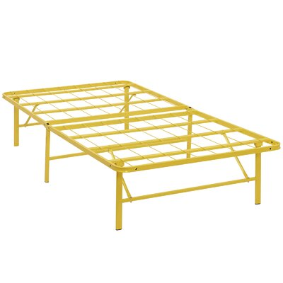 Horizon Steel Bed Frame Size: Twin, Color: Yellow
