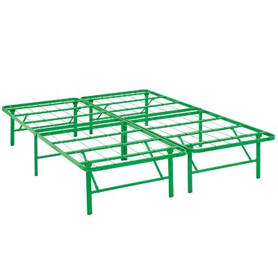 Horizon Steel Bed Frame Size: Queen, Color: Green