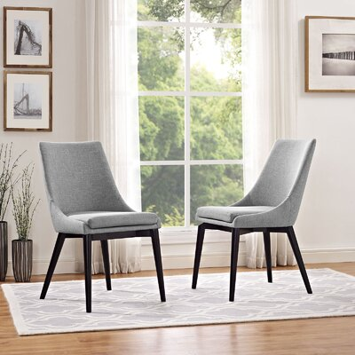 Carlton Wood Leg Upholstered Dining Chair Color: Light Gray