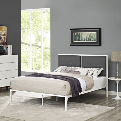 Della Upholstered Fabric Platform Bed Color: White, Upholstery: Gray, Size: Full