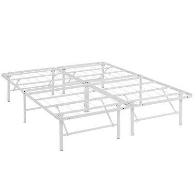 Horizon Steel Bed Frame Size: Queen, Color: White