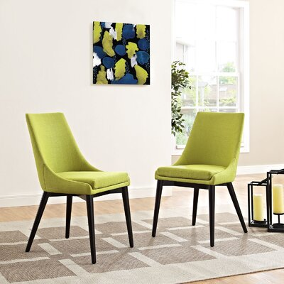 Carlton Wood Leg Upholstered Dining Chair Color: Wheatgrass