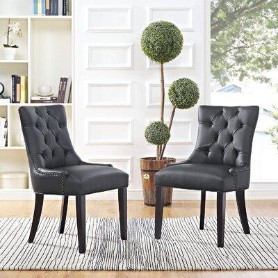Carlton Wood Leg Upholstered Dining Chair Color: Black