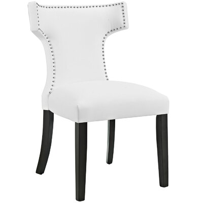 Curve Upholstered Dining Chair Color: Vinyl White