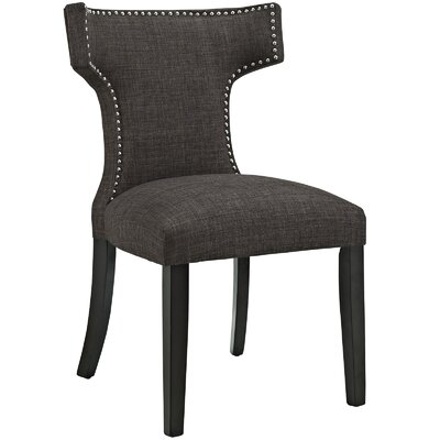 Curve Upholstered Dining Chair Color: Fabric Brown