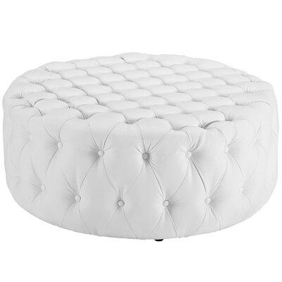 Amour Ottoman Upholstery: Vinyl - White