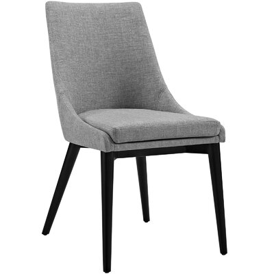 Carlton Wood Leg Upholstered Dining Chair Color: Fabric Light Gray