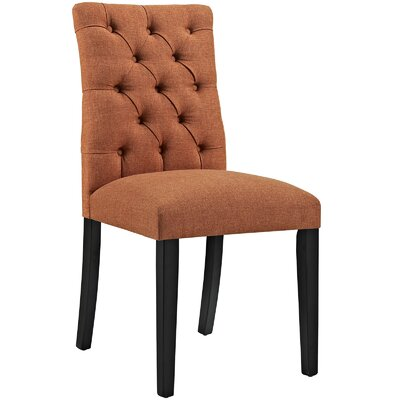 Duchess Upholstered Dining Chair Color: Orange