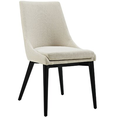 Carlton Wood Leg Upholstered Dining Chair Color: Fabric Beige