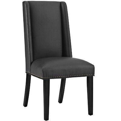 Baron Parsons Chair Upholstery: Vinyl - Black