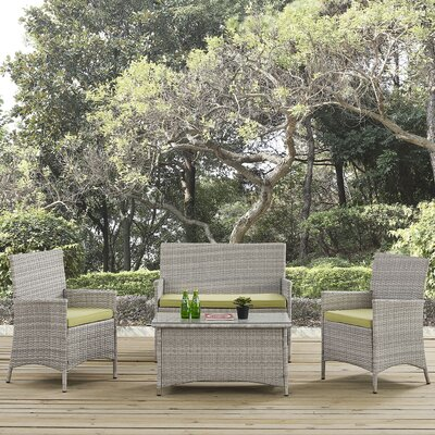 Bridge 4 Piece Sofa Seating Group with Cushion Fabric: Peridot