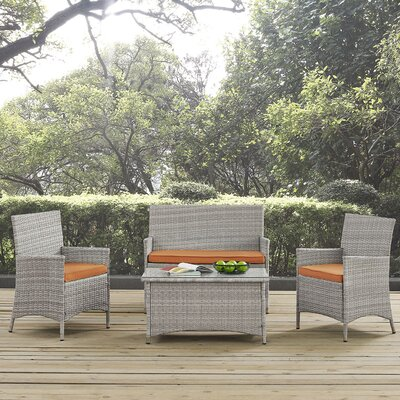 Bridge 4 Piece Sofa Seating Group with Cushion Fabric: Orange