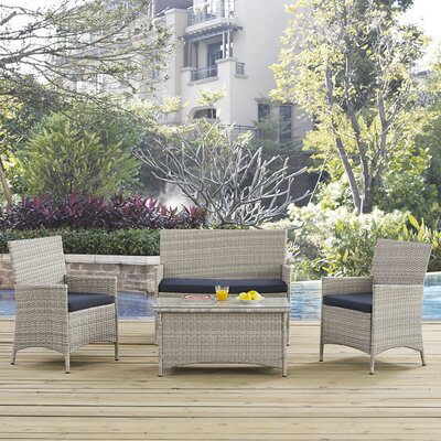 Bridge 4 Piece Sofa Seating Group with Cushion Fabric: Navy