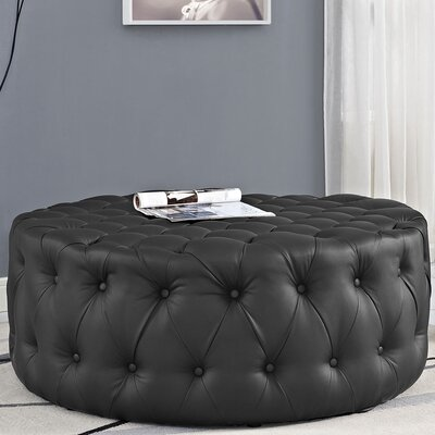 Amour Cocktail Ottoman Upholstery: Vinyl - Black