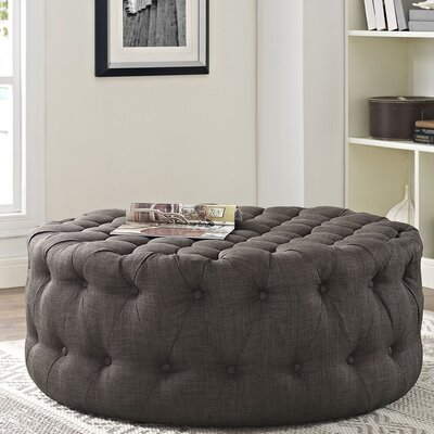 Amour Cocktail Ottoman Upholstery: Polyester - Brown