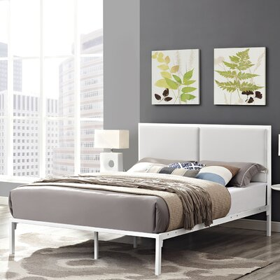 Della Upholstered Vinyl Platform Bed Size: Queen