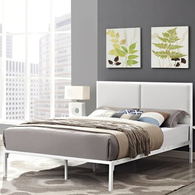 Della Upholstered Vinyl Platform Bed Size: King