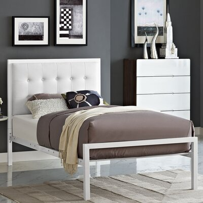 Millie Upholstered Vinyl Platform Bed Size: Twin