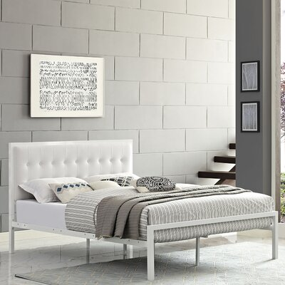 Millie Upholstered Vinyl Platform Bed Size: Queen