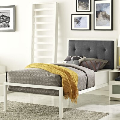 Lottie Upholstered Fabric Platform Bed Size: Twin, Color: White, Upholstery: Gray